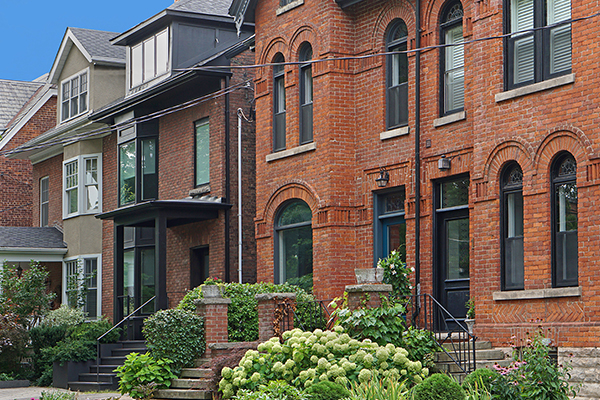 Historic brick townhouses