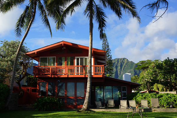 tropical red house with palm tree in yard