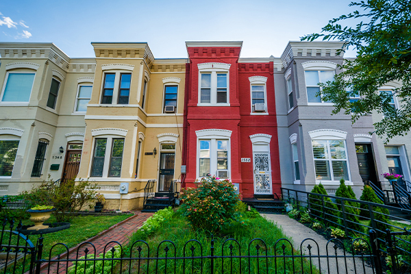 historic colorful town houses