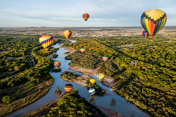 Aerial view of New Mexico with hot air balloons