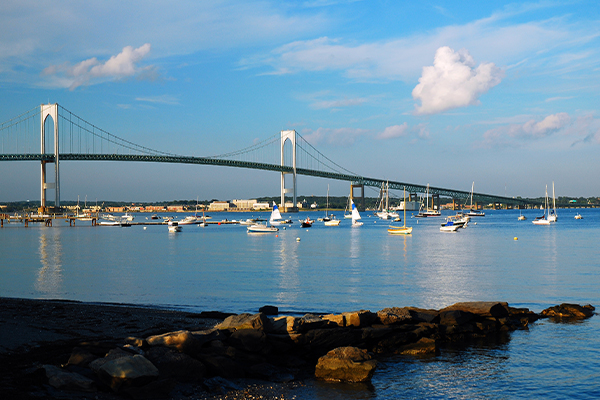 View of the bay with sailboats and bridge
