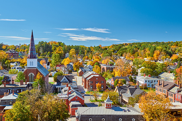 Aerial view of a small town in Vermont with church steeples