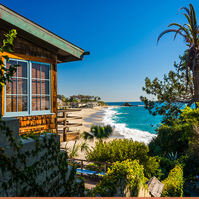 Scenic view from coastal house in California