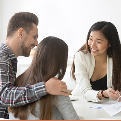 Couple working with realtor