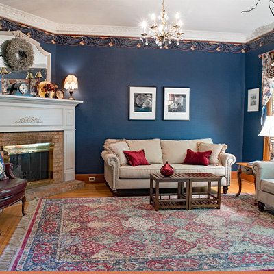 Dated living room with traditional decor