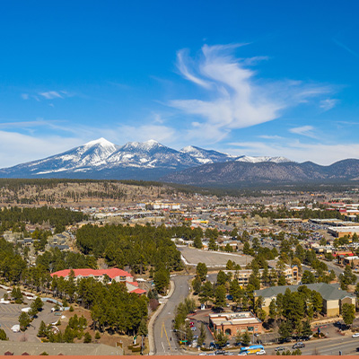 Aerial view of Flagstaff Arizona with blue skies