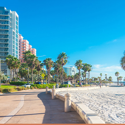 View of beach in Clearwater, Florida