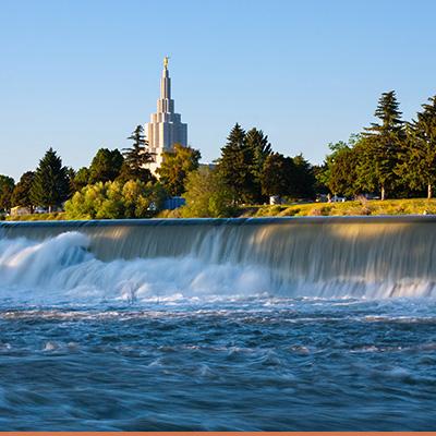 View of waterfalls in Idaho Falls, Idaho