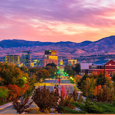 Sunset aerial view of Boise, Idaho with mountains in the background