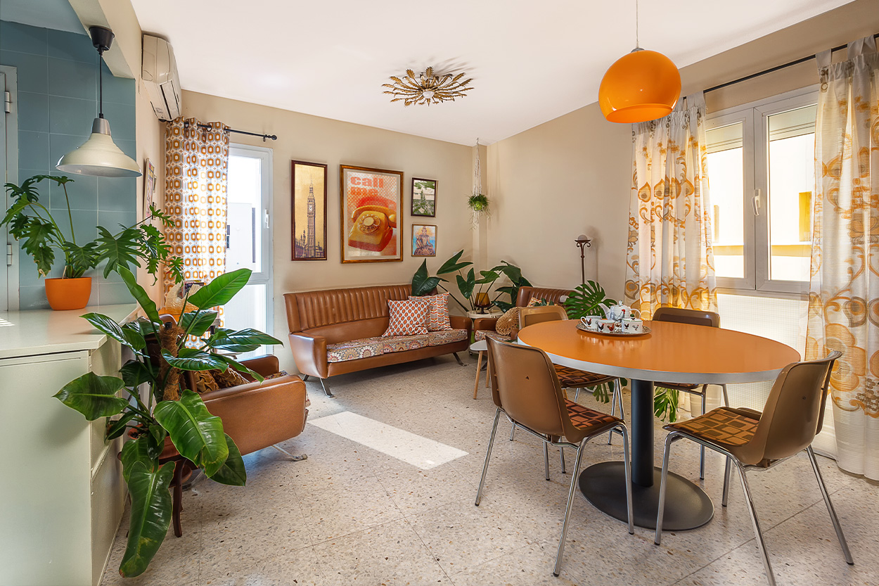 Retro living room with dated flooring and detail
