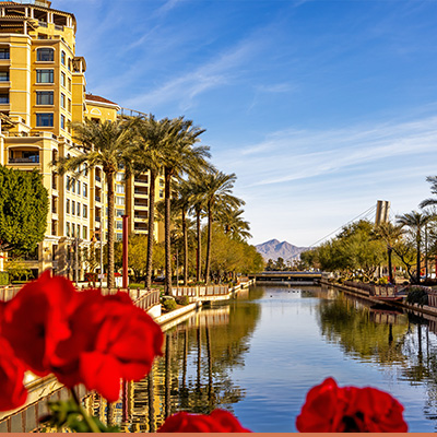 View of river canal in Scottsdale Arizona