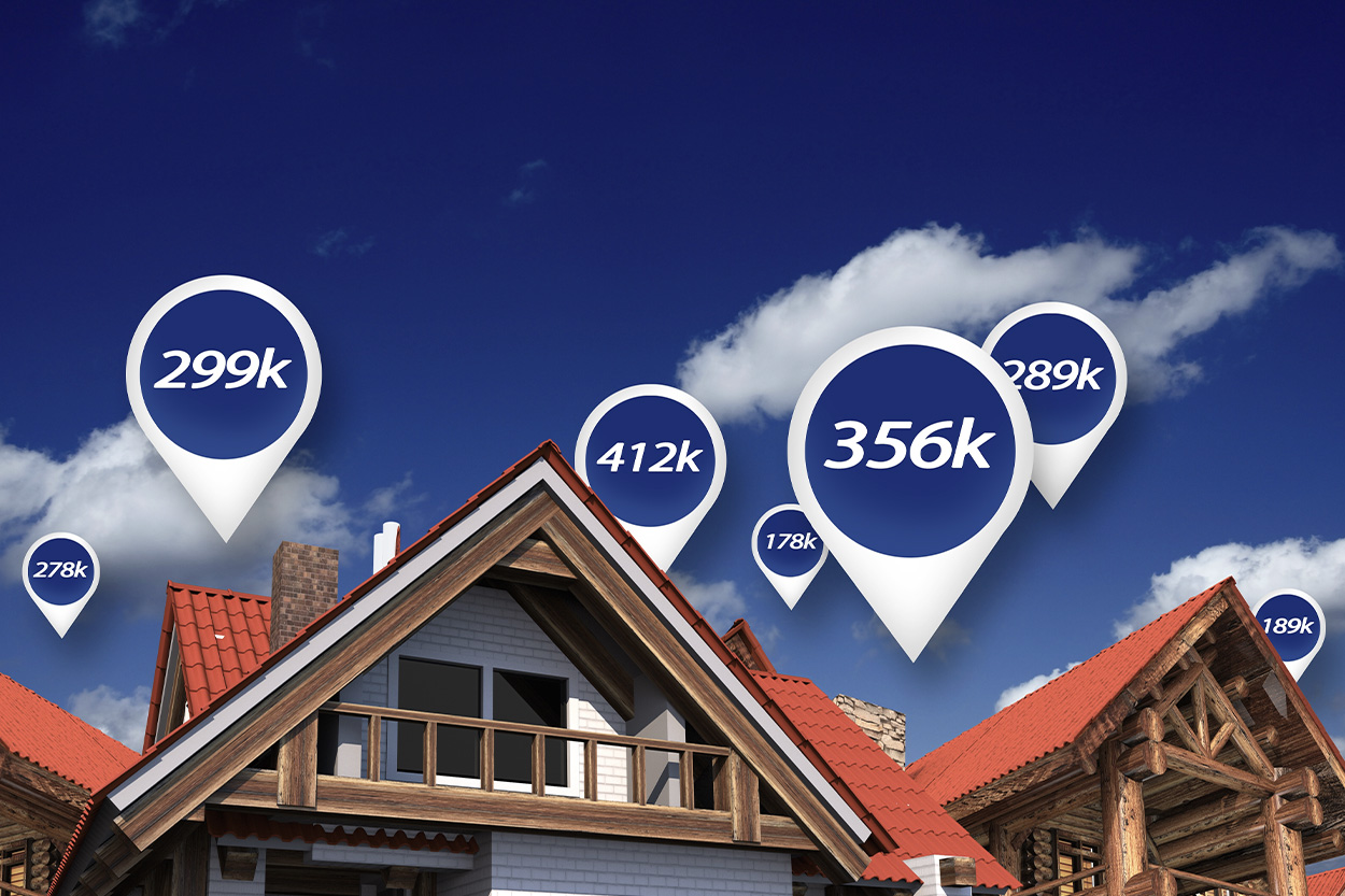 Houses with price bubbles in sky