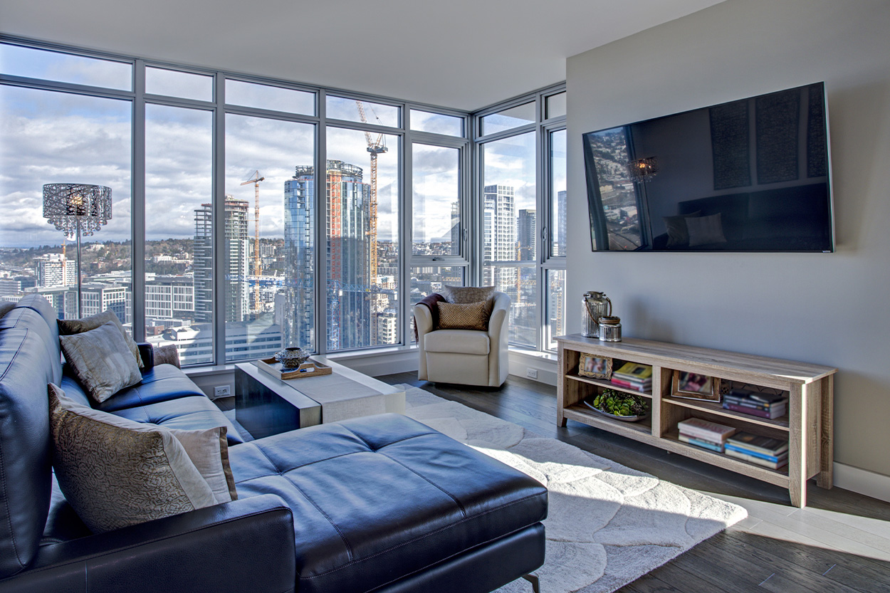 Interior of city condo with a view of downtown